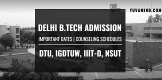 Delhi B.Tech Admission 2019: Important Dates